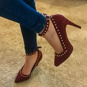 Studded Burgundy Suede Pointed Pumps